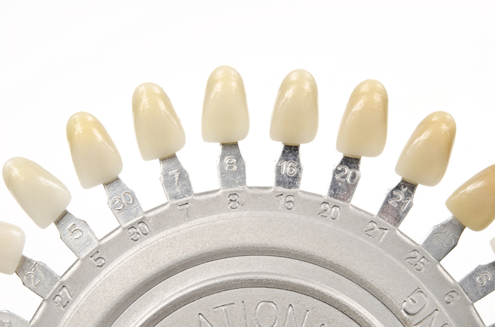 The natural colours of teeth, from dark to light