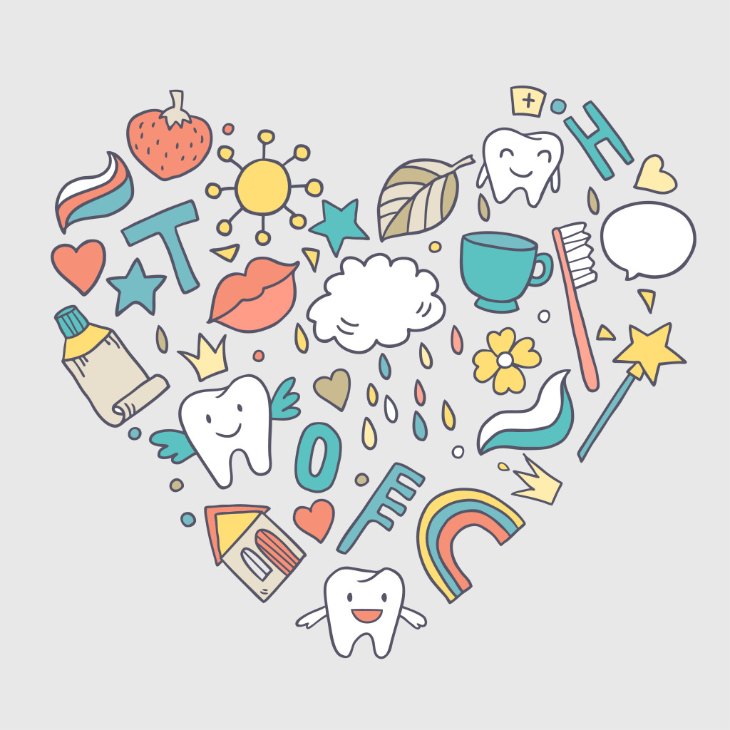 An illustration of dental icons shaped in a heart