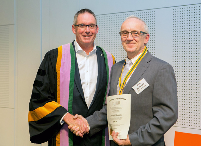 Dr Chris Hardwicke receiving his Fellowship of the International College of Dentists at the 37th Australian Dental Congress 2017 - Melbourne Convention