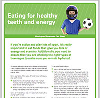 """A screenshot of ADA's downloadable PDF, """"Eating For Healthy Teeth And Energy"""""""