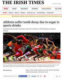 "A screenshot of The Irish Times article ""Athletes Suffer Tooth Decay Due To Sugar In Sports Drinks"""