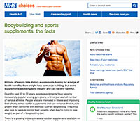 "A screenshot of NHS article, ""Bodybuilding And Sports Supplements: The Facts"""