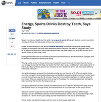 "A screenshot of ABC News article "" Energy, Sports Drinks Destroy Teeth, Says Study"""