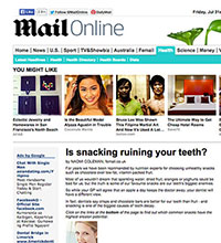 """A screenshot of Daily Mail article, """"Is Snacking Ruining Your Teeth?"""""""