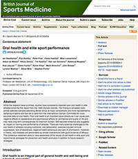 """A screenshot of the British Journals Of Sport Medicine article, """"Oral Health And Elite Sport Performance"""""""