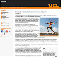 """Screenshot of the UCL news article, """"Oral Health Problems In Elite Athletes 'Must Be Addressed'"""