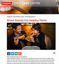 """A screenshot of Colgate's article, """"Smart Snacks For Healthy Teeth"""""""
