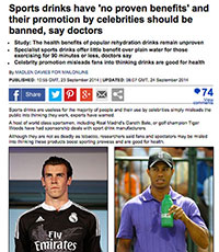 "A screenshot of the DailyMail article, ""Sports Drinks Have 'No Proven Benefits' And Their Promotion By Celebrities Should Be Banned, Say Doctors"""