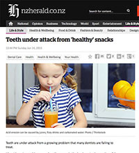 """A screen grab of NZ Herald website article, """"Teeth Under Attack From 'Healthy' Snacks"""""""