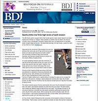 """A screenshot of the BDJ article, """"Sports Drinks Trial Finds High Levels Of Tooth Erosion"""""""