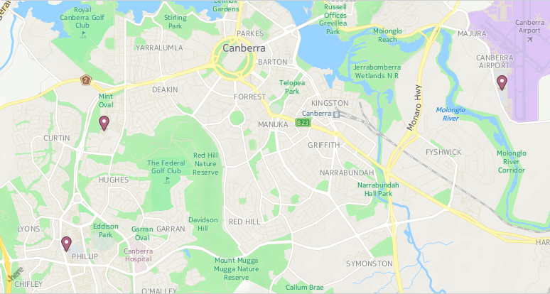 A map showing Corinna Dental Group's three locations across Canberra